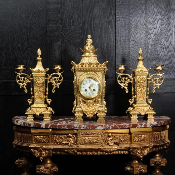 JAPY FRERES LOUIS XVI GILT BRONZE CLOCK SET C1900