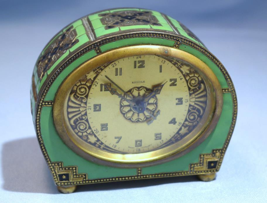 Art Deco German Brass Black Green Enamel Kienzle Schwenningen Alarm Clock