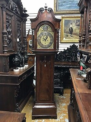 ENGLISH GRANDFATHER CLOCK WITH DATE JEAN GRUCHY CASE 84