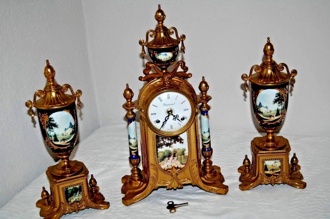 Imperial Clock Set Franz Hermle Movement & 2 Garniture Urns Made In Italy w/Key