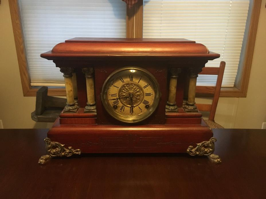 RARE ANTIQUE c1880 SETH THOMAS ROSEWOOD ADAMANTINE MANTEL CLOCK - JUST REBUILT !