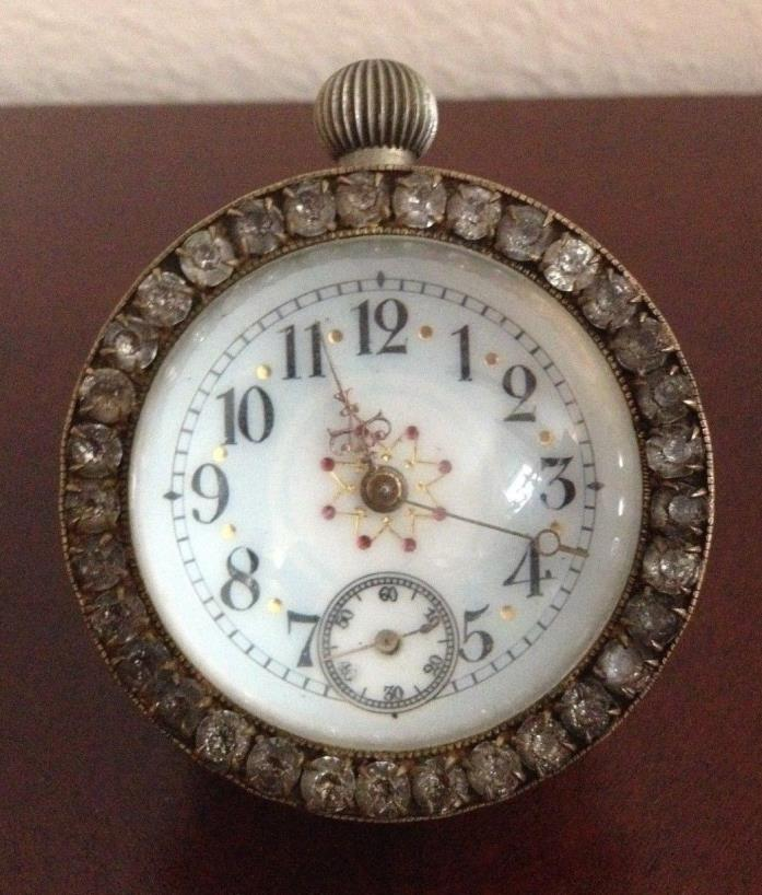RARE COLLECTIBLE VINTAGE ORNATE CRYSTAL BALL BRASS KINETIC CLOCK. WORKS