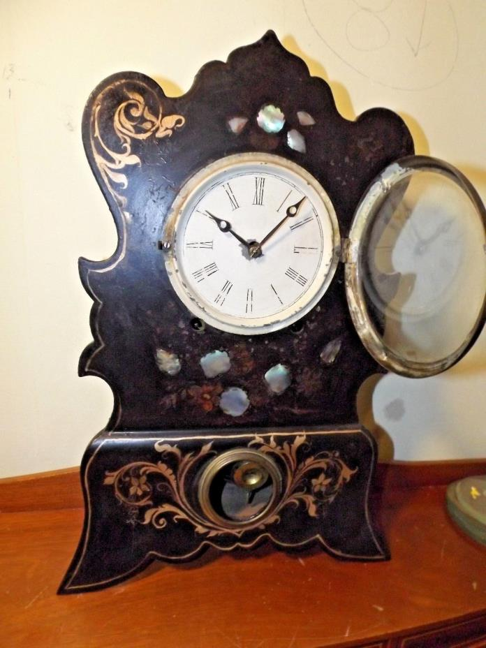 Antique 1800s Cast Iron & Wooden Case Mantle Clock w/Applied Abalone Shell RUNS