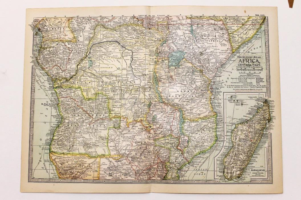 1906 Africa Map Madagascar Damara Land Railroads Routes ORIGINAL