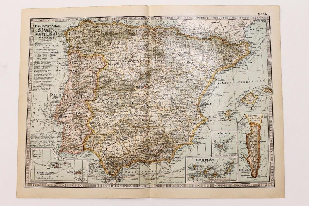 1906 SPAIN PORTUGAL MAP MADRID LISBON BARCELONA RAILROADS ORIGINAL