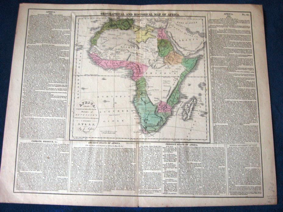 1821 AFRICA big antique MAP geographical & historical inc Madagascar nice color