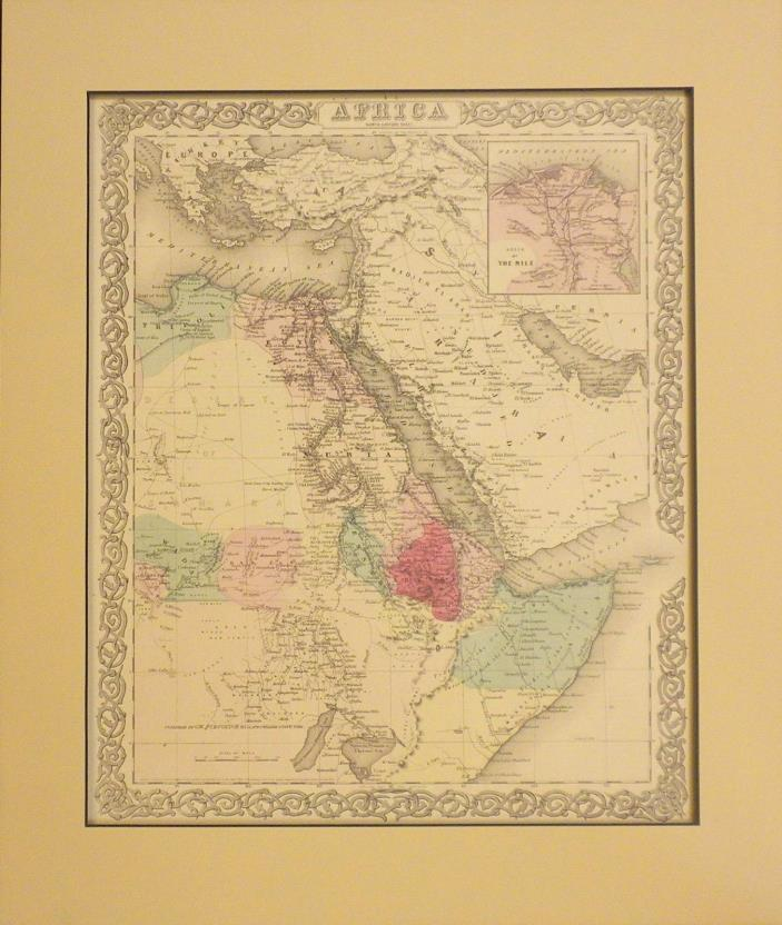 Original 1855 Colton's Map of Northeast Africa, Nile, and Arabia