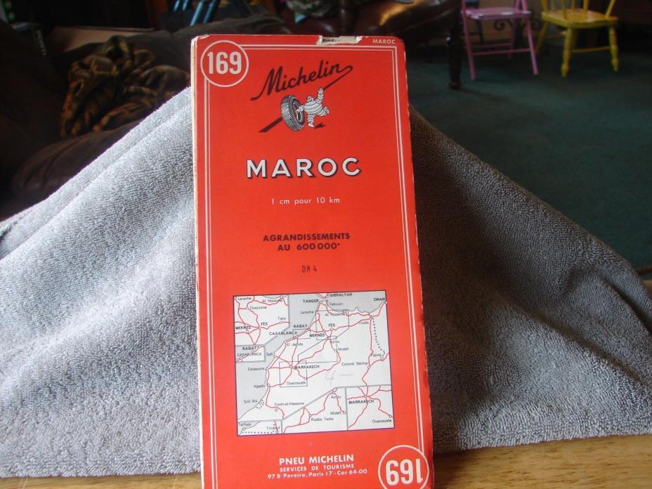 1964 Road Map Maroc(Morroco) Michelin #169