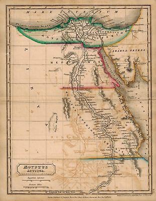 Aegyptus Antiqua Egypt Hall Antique Map 1822