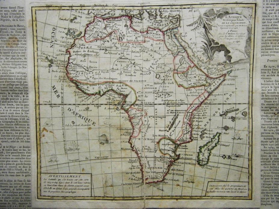 2 MAPS OF AFRICA, 1790, HAND COLORED, BRION DE LA TOUR, SCARCE