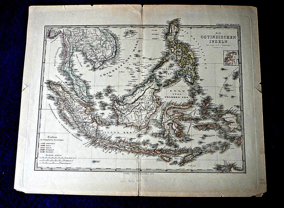 1879 EAST INDIES antique map SE Asia Philippines Java Sumatra Borneo (in German)