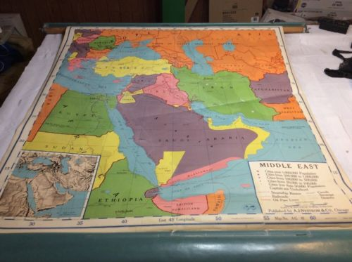 Vintage 1958 Nystrom American Geo Series Pull Down Middle East Map 01095A