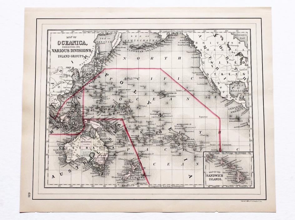 1887 Oceanica Map Philippines Malaysia Australia China Hawaii Zealand ORIGINAL