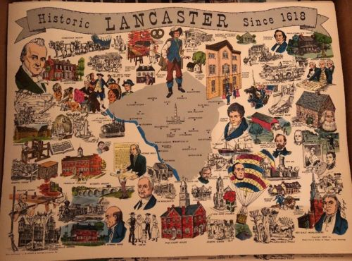 VERY RARE 1966 Historic LANCASTER PA MAP SINCE 1618 (NEW). 52 YEARS OLD!!!
