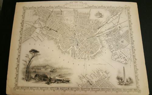 1850's BOSTON CITY MAP by John Tallis and Co. Original