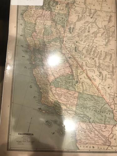 1885 Map of California CA by Cram ~ Full Color Lithograph Engraving + Nevada