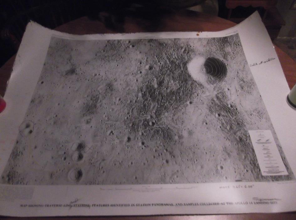 Moon Map, Apollo 14 traverse line and stations proof map.