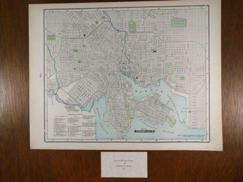 Vintage 1900 BALTIMORE MARYLAND Map Antique TURN OF THE CENTURY Original MAPZ20