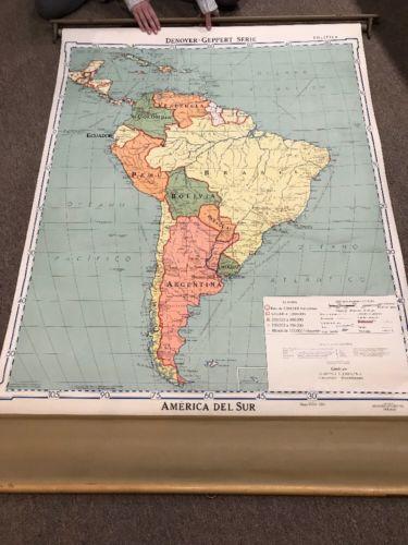 Vintage Denoyer-Geppert America Del Sur Political Map of South America 10766