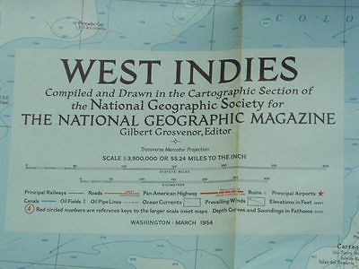 Vintage 1954 West Indies Map National Geographic March 1954 - 28 5/8