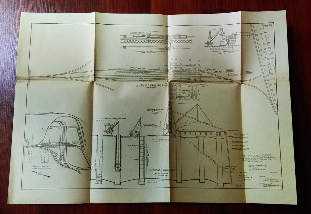 1913 Panama Canal Diagram Pacific Terminal Pier 18 Locomotive Crane