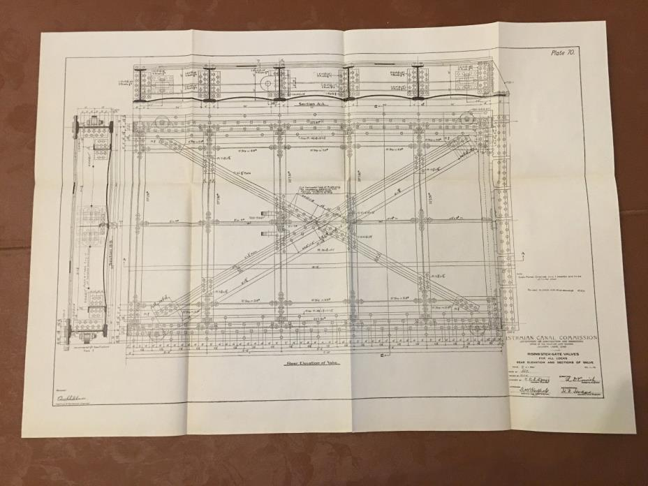 1912 Panama Canal Diagram Rising Stem Gate Valves for all Locks Rear Elevation