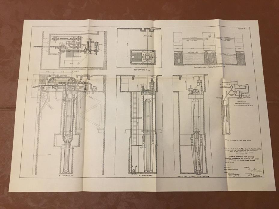 1913 Panama Canal Diagram Chain Fender Gen'l Assembly at Miraflores Locks