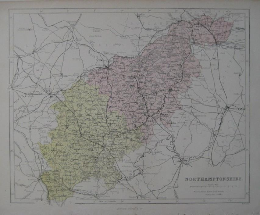Original 1868 Map NORTHAMPTONSHIRE England Canals Abbeys Daventry Corby Rushden