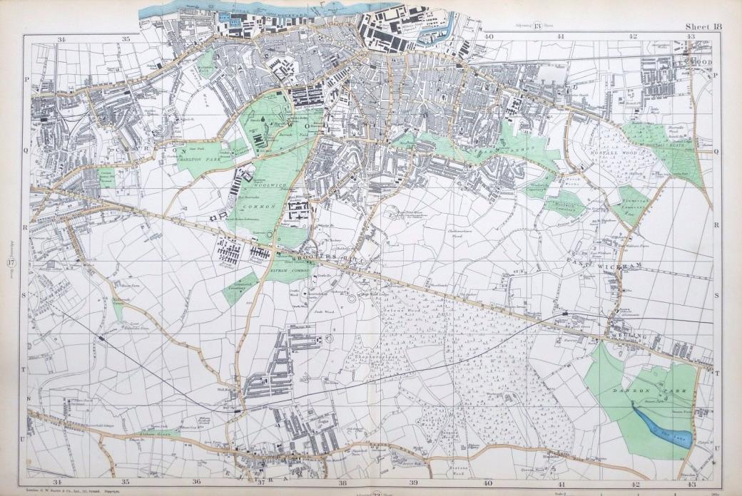 LONDON, 1924 - WOOLWICH, PLUMSTEAD, ELTHAM  - Large Original Old Street Map.