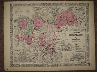 1864 GERMANY CIVIL WAR MAP Johnson Geography Atlas Original Antiques