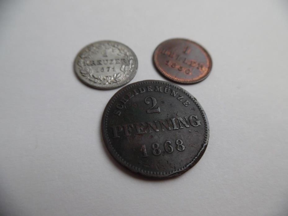 GERMANY BAVARIA 3 PCS. 1850 HELLER - 1868 2 PFENNING - 1871 KREUZER - HIGH GRADE