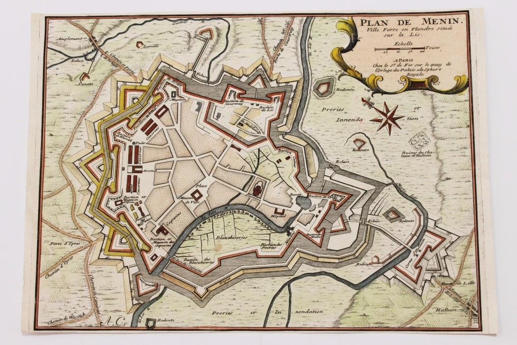 1705 Menin Belgium Map Fortifications Bastions Nicholas De Fer Hand-colored RARE