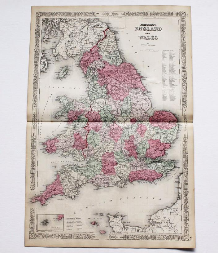 1864 England Wales Map London Railroads Large Double Page ORIGINAL RARE