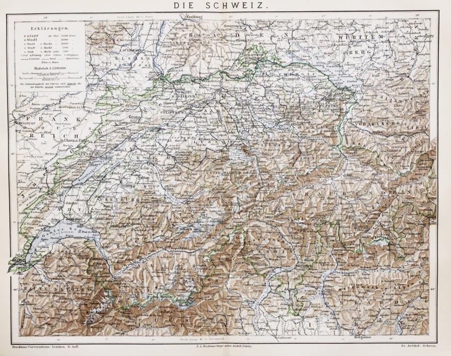 1886 Switzerland Map Luzern Alps Freiburg Railroads Zurich Original Brockhaus