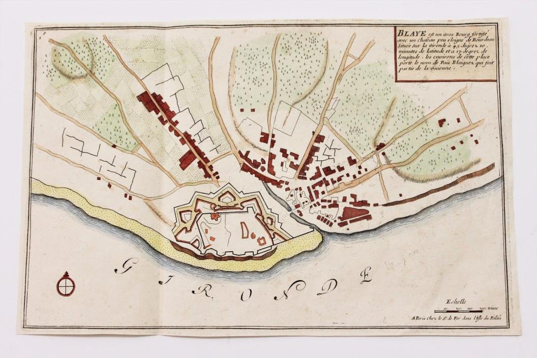 1705 Blaye France Map  Fortifications Hand-colored Gironde ORIGINAL