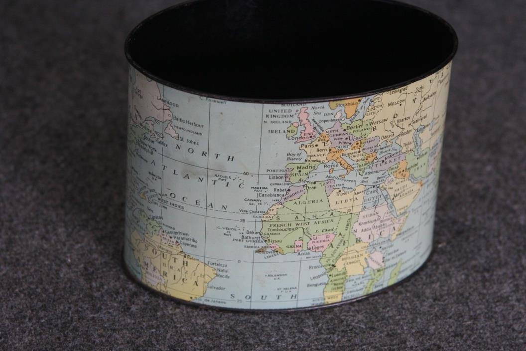 Vintage Tin Litho Desk Organizer Partial World Globe Print pre WWII