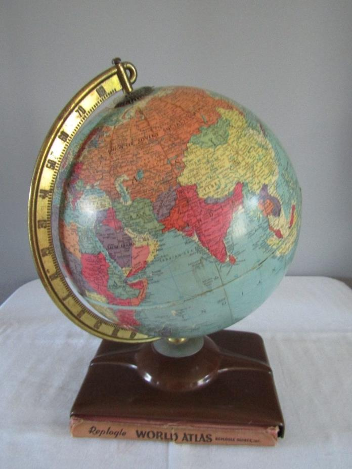 Vintage 1950's Replogle World Atlas Globe w/Book Holder