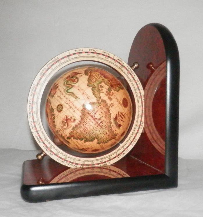 Old World Map Globe Spinning Large Desk Display Wood Nautical Decor