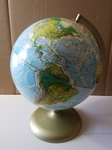1970's Rand McNally World Portrait Globe With Metal Arm & Base ~ Raised Relief