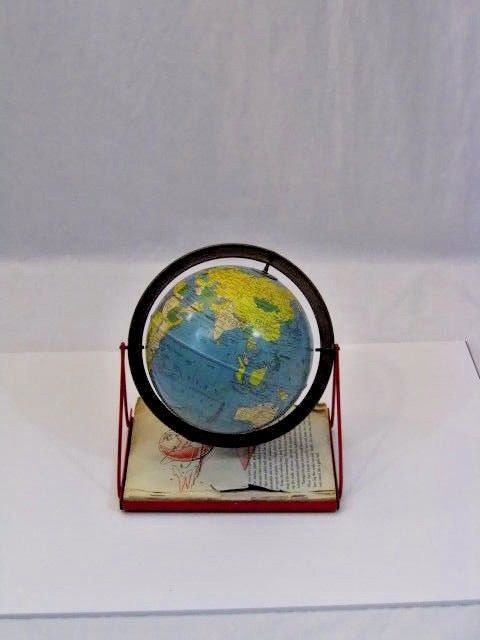 Globe with Swing Set stand and Book Vintage Replogle Simplified 6 Inch Tin