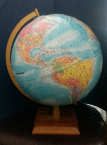 Globe by Globemaster 12 Inch Diameter Wood Base Raised Topography 2006 Current