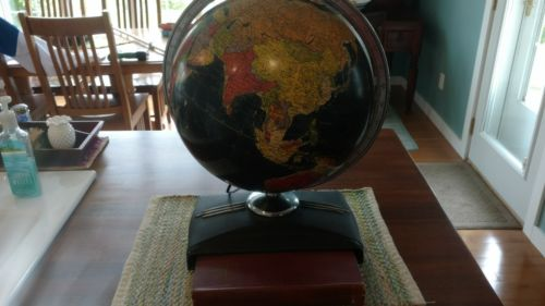 VINTAGE WORLD GLASS GLOBE BLACK CHROME ART DECO  BASE REPLOGLE 12 INCH W/ATLAS
