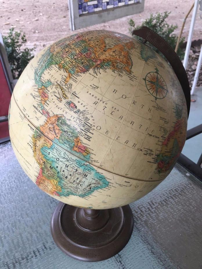 Replogle 12 Inch Diameter Vintage Globe With Metal Base World Classic Series