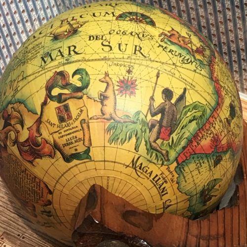 1950s Vintage Desk Globe Lluis Duran Huix Sant Hilari d Sacalm Globe Wood Stand