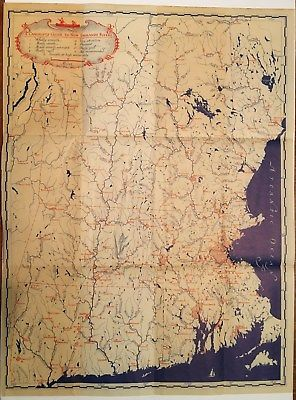 MAP: A Canoeist's Guide to New England Rivers 1935 Large Color
