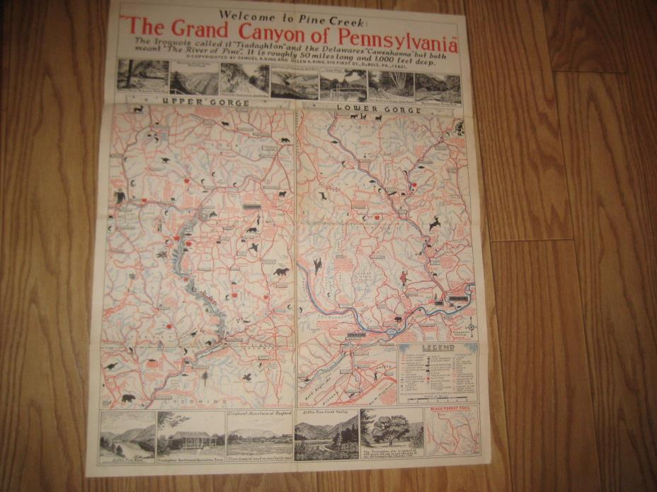 LARGE VINTAGE 1960s MAP PINE CREEK GORGE GRAND CANYON OF PENNSYLVANIA