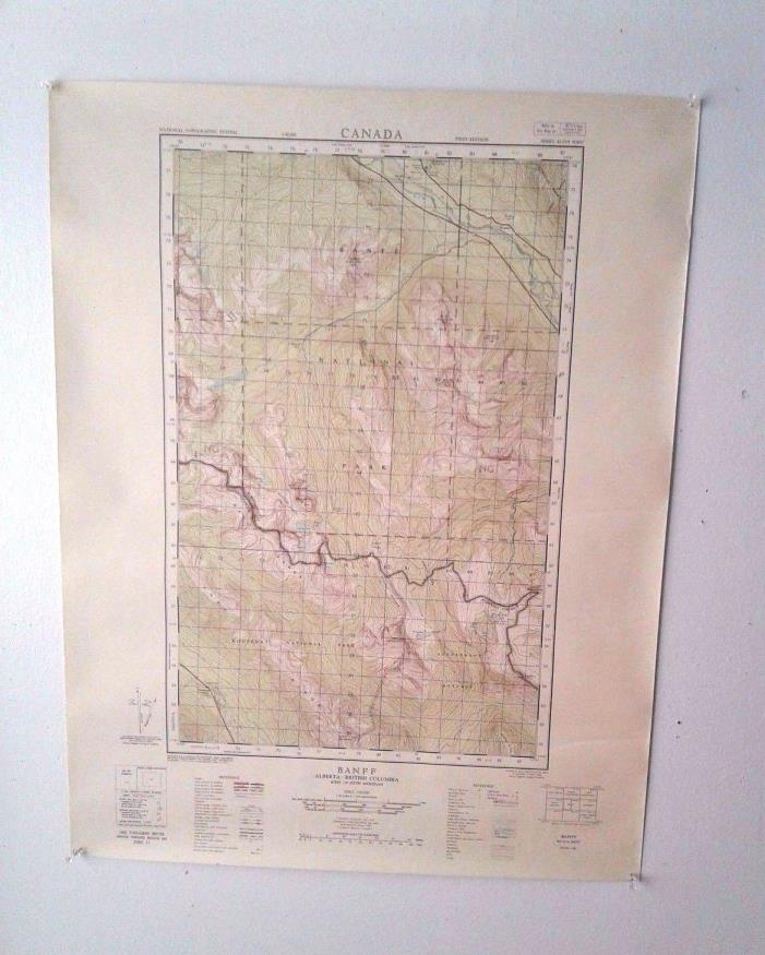 3 1950s Vintage Topographic Maps of Banff Canadian National Park Alberta