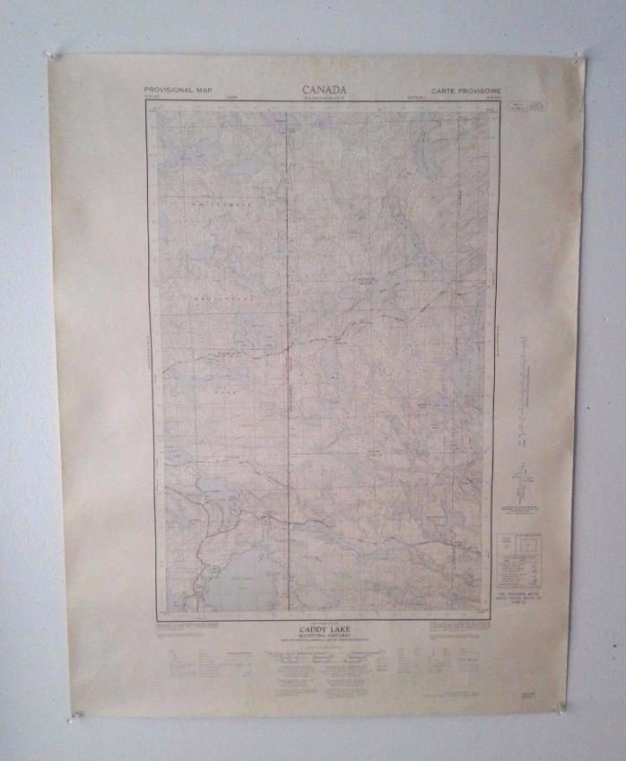 Vintage 1963 Topographical Map of Caddy Lake, Manitoba and Ontario, Canada