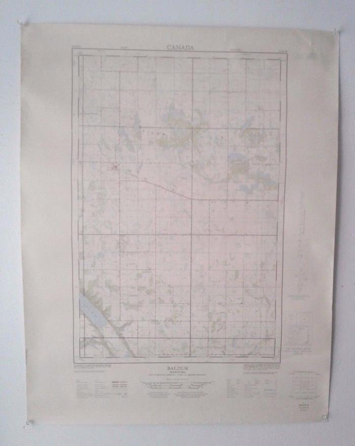 Vintage 1965 Topographical Map of Baldur, Manitoba, Canada