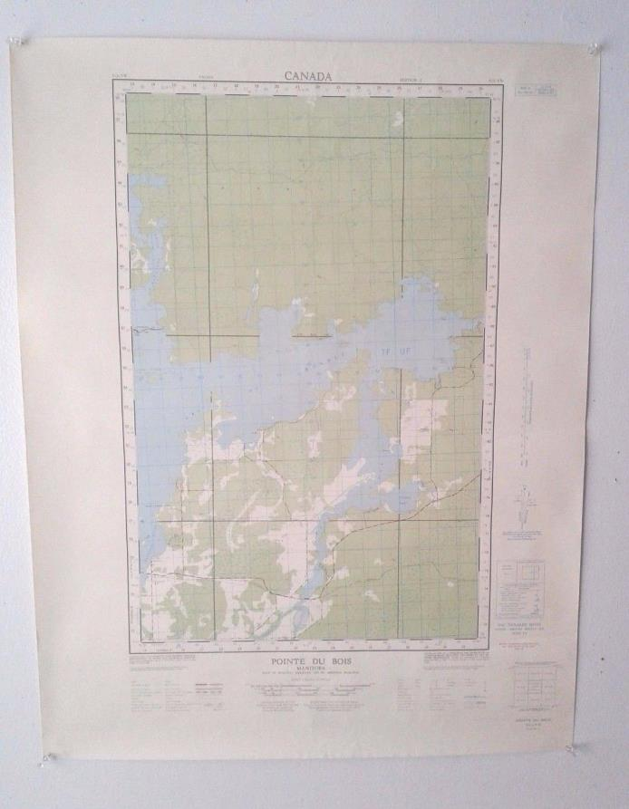 2 Vintage 1966 Topographical Maps of Pointe du Bois, Manitoba and Ontario
